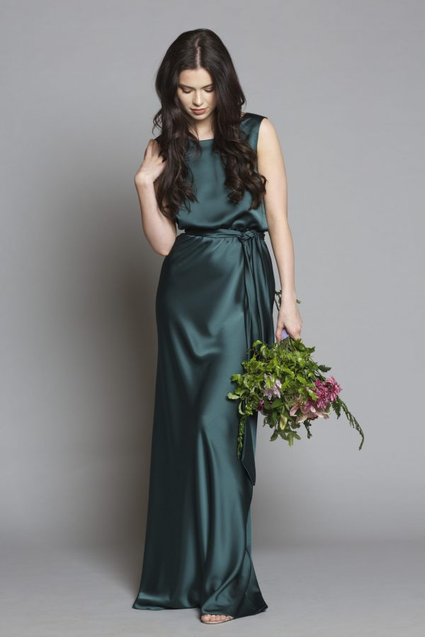 Satin Lily Dress Hunter Green
